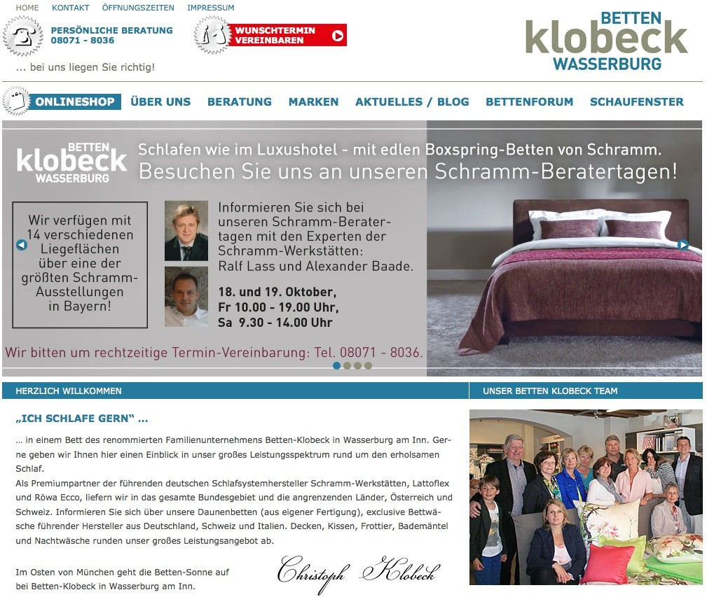 Webaufzug betreut Betten Klobeck im Bereich SEO, SEO und Social Media